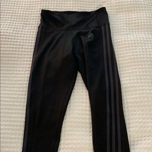 Adidas black leggings with gray stripes on sides